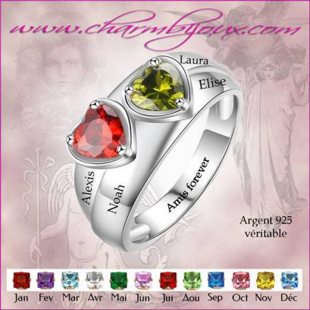 Bague argent 2 prenom et 2 pierre de naissance cœurs gravés en Argent, bague personnalisable avec Gravure message