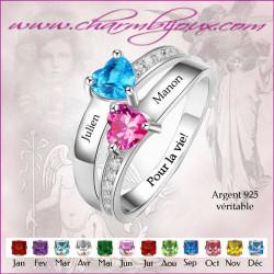 Bague 2 cœurs et 2 prénoms gravés - Bague en Argent avec zirconiums personnalisable avec Gravure message