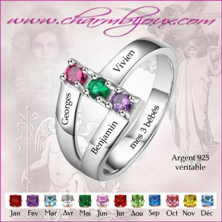 Bague 3 prenoms 3 pierres de naissance en Argent 925 - Bague maman à personnaliser avec Gravures