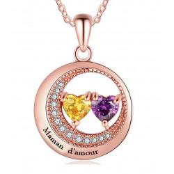 Collier coeur plaque or rose2 Prenom et 2 pierre de naissance OFFERTE