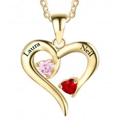 Collier coeur ouvert plaque or 2 Prenom et 2 pierre de naissance OFFERTE