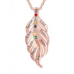 Collier feuille plaqué-or Rosé 8 prénoms et 8 pierres de naissance
