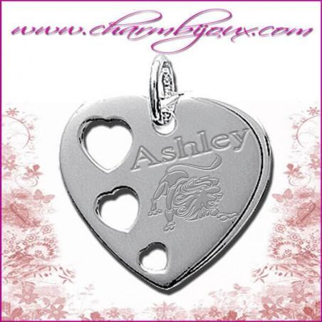 Pendentif Coeur 3 coeurs en Argent véritable Gravure signe du zodiaque OFFERTE