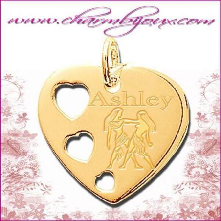 Pendentif coeur 3 coeurs en Plaque or 18 carats véritable Gravure zodiaque
