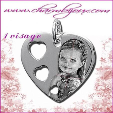 Pendentif Coeur 3 coeurs en Argent véritable - Gravure PHOTO - Texte - Prénom -date