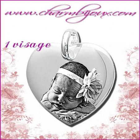 Pendentif Coeur droit en Argent véritable - Gravure PHOTO - Texte - Prénom -date