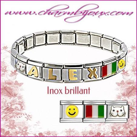 Bracelet Italien Inox avec Prenom OFFERT bracelet 6 lettres offertes