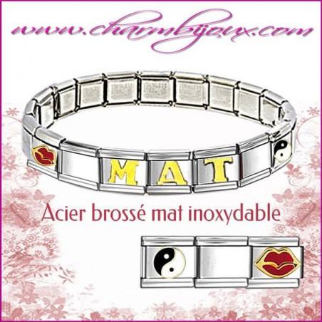 Bracelet Italien avec Prénom OFFERT - 6 lettres offertes - Acier inoxydable mat