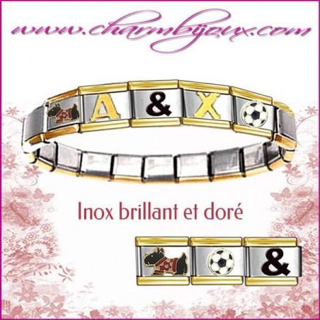 Bracelet Italien Inox et doré avec Prénom OFFERT - 6 lettres offertes