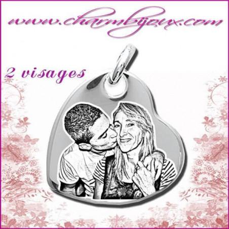 Pendentif Coeur penche en Argent véritable-Gravure PHOTO - Texte - Prenom -date
