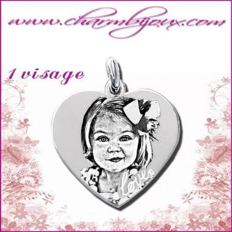 Pendentif Coeur Love en Argent véritable - Gravure PHOTO - Texte - Prénom -date