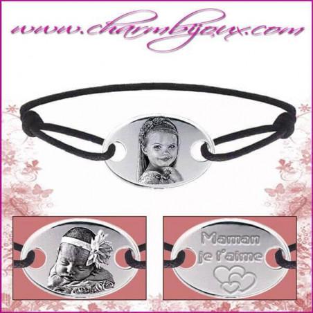 Bracelet cordon avec plaque ovale en Argent - Gravure Photo