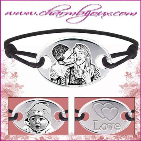 Bracelet cordon avec grande plaque ovale en Argent - Gravure Photo