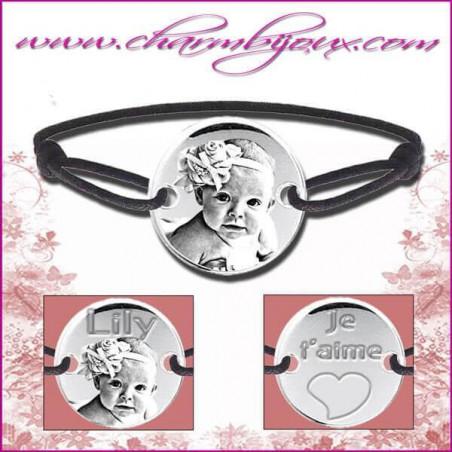 Bracelet cordon avec plaque ronde en Argent - Gravure Photo