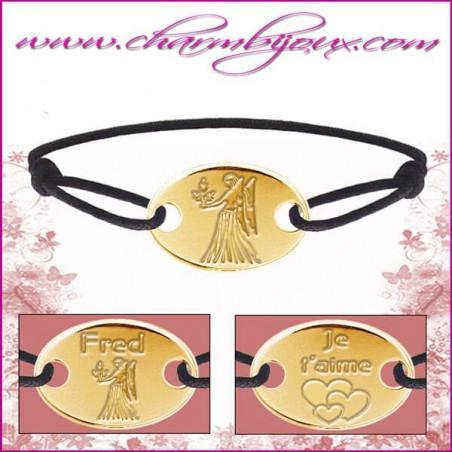 Bracelet cordon avec plaque ovale en Plaqué or - Gravure Zodiaque