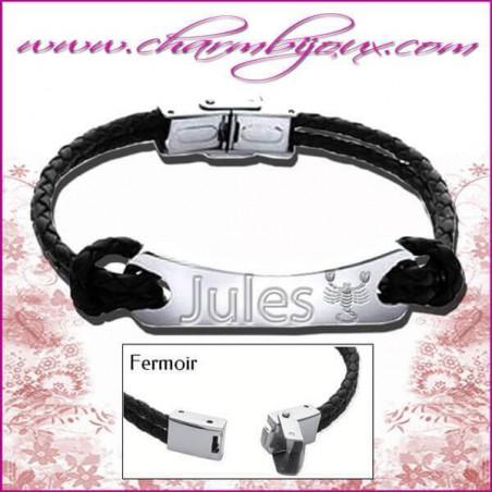 Bracelet Zodiaque Cuir noir 2 noeuds et plaque rectangle en Acier- Gravure Zodiaque OFFERTE