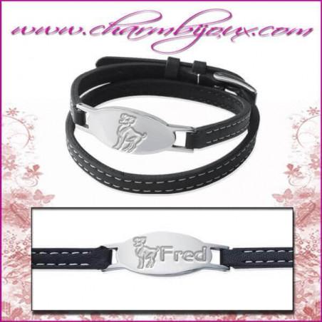 Bracelet Zodiaque Cuir double rangs avec plaque ovale en Acier- Gravure Zodiaque