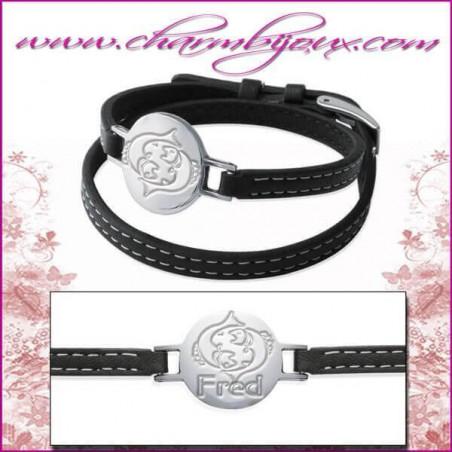 Bracelet Zodiaque Cuir double rangs avec plaque ronde en Acier- Gravure Zodiaque