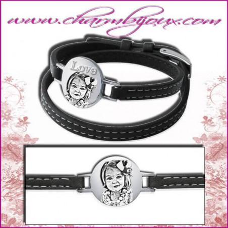 Bracelet Cuir avec plaque ronde en Acier - Gravure Photo