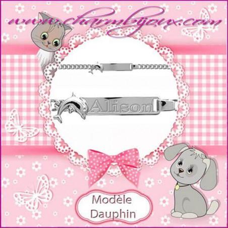 Gourmette de baptême pour enfant en Argent - Gravure prénom OFFERTE- Motif Dauphin