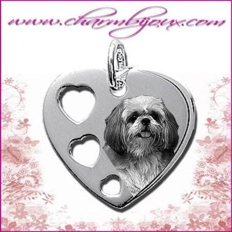 Pendentif Coeur 3 coeurs en Argent véritable - Gravure Photo Animal de compagnie