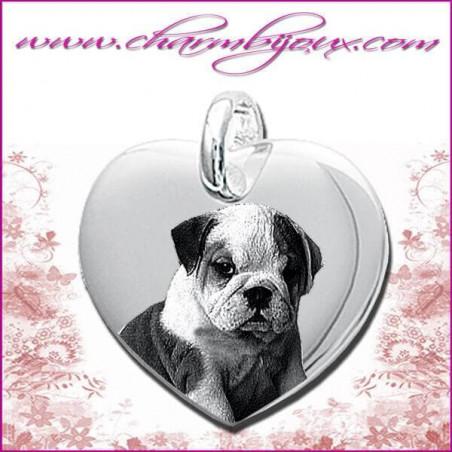 Pendentif Coeur droit en Argent véritable - Gravure Photo Animal de compagnie