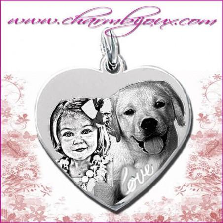 Pendentif grand Coeur inscription Love en Argent véritable - Gravure Photo Animal de compagnie
