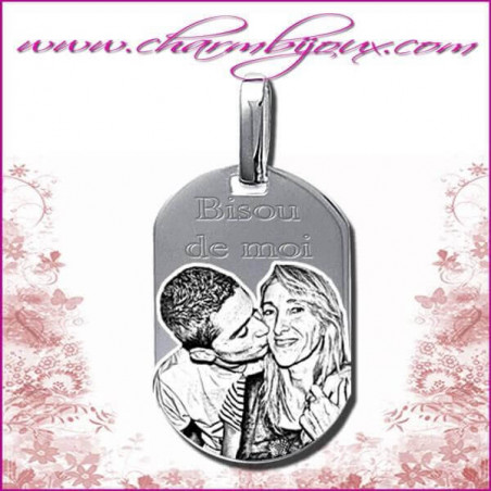 Pendentif Rectangle arrondi en Argent veritable Gravure PHOTO Texte Prenom