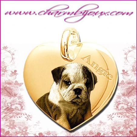 Médaille Coeur droit en Plaqué or 18 carats - GRAVURE PHOTO de votre Animal de compagnie et GRAVURE TEXTE