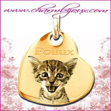 Médaille Coeur penché en Plaqué or 18 carats - GRAVURE PHOTO de votre Animal de compagnie et GRAVURE TEXTE