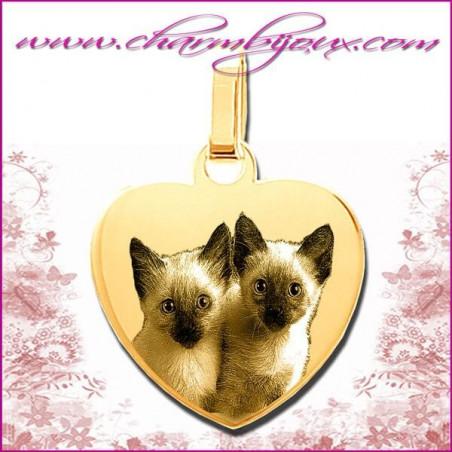 Médaille Coeur plat en Plaqué or 18 carats - GRAVURE PHOTO de votre Animal de compagnie et GRAVURE TEXTE