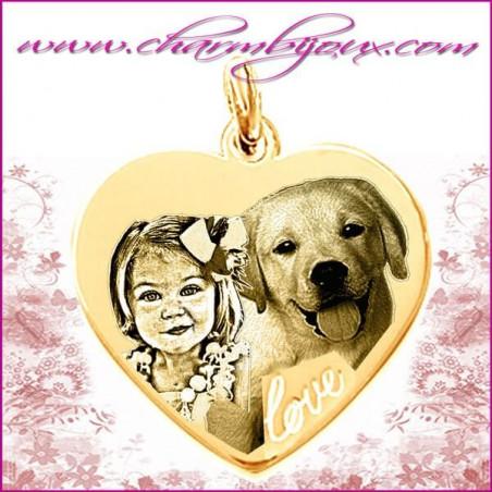 Médaille grand Coeur Love en Plaqué or 18 carats - GRAVURE PHOTO de votre Animal de compagnie et GRAVURE TEXTE
