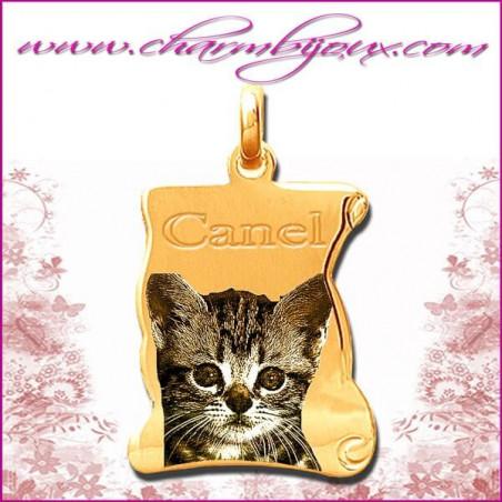 Médaille Parchemin plat en Plaqué or 18 carats - GRAVURE PHOTO de votre Animal de compagnie et GRAVURE TEXTE