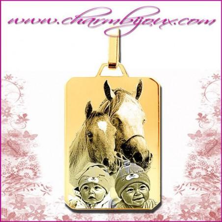 Médaille grand Rectangle en Plaqué or 18 carats - GRAVURE PHOTO de votre Animal de compagnie et GRAVURE TEXTE